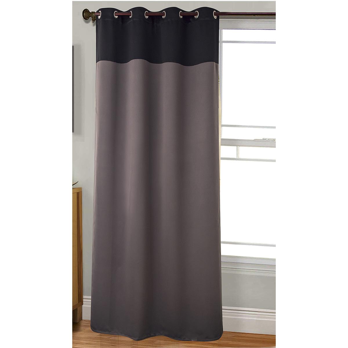 Rideau bicolore et occultant - Noir / Gris - 140 x 260 cm