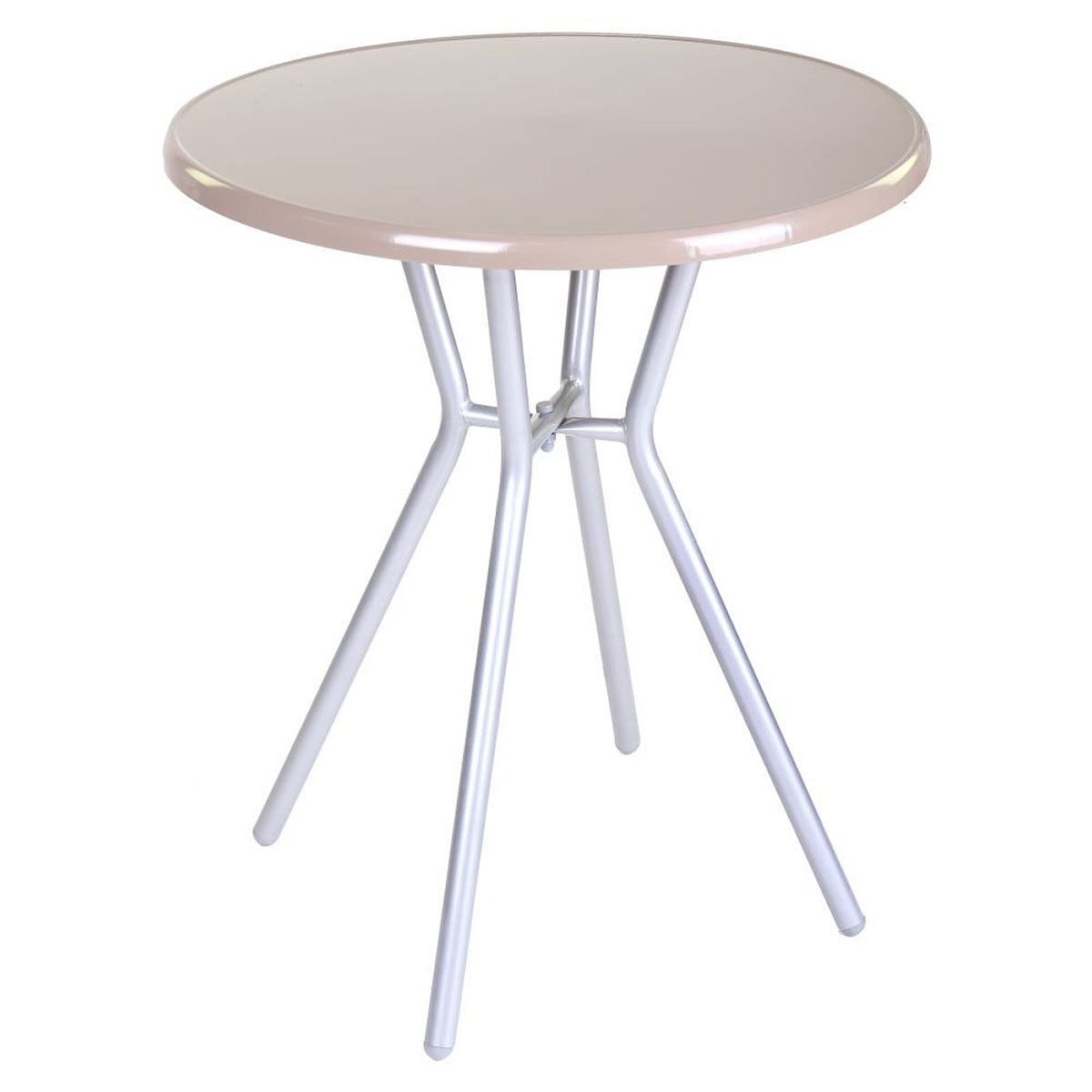 Table de jardin ronde en acier - GRIS/TAUPE - 60.00 cm x 60.00 cm x 70.00 cm