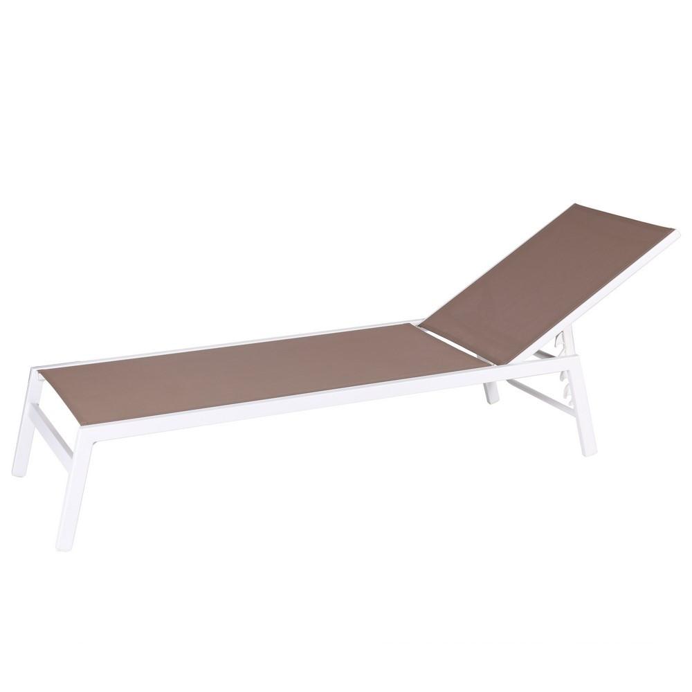 Chaise longue en aluminium blanc - Taupe/Blanc - 199.00 cm x 60.00 cm x 94.00 cm