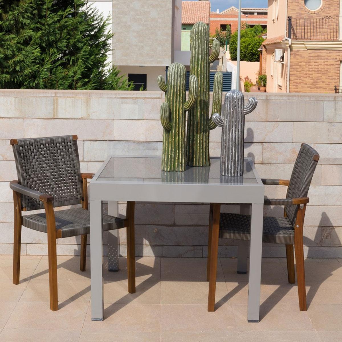 Table extensible en aluminium gris - Gris - 90.00 cm x 90.00 cm x 74.50 cm