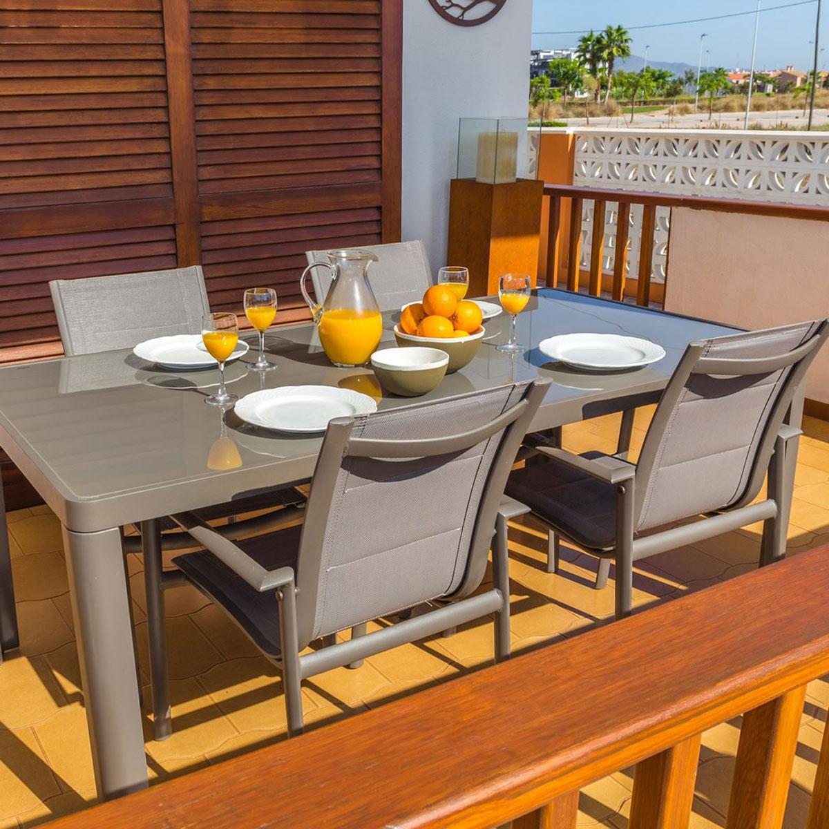 Table à manger rectangulaire en aluminium - Gris - 180.00 cm x 90.00 cm x 75.00 cm