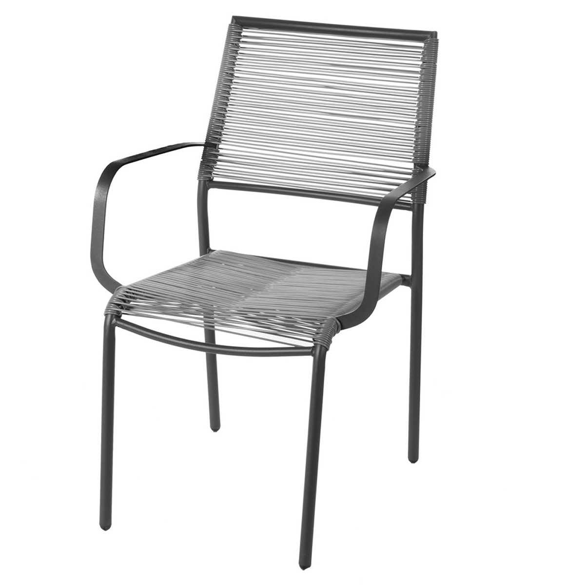 Lot de 2 chaises en acier gris - Gris - 62.50 cm x 55.00 cm x 84.00 cm