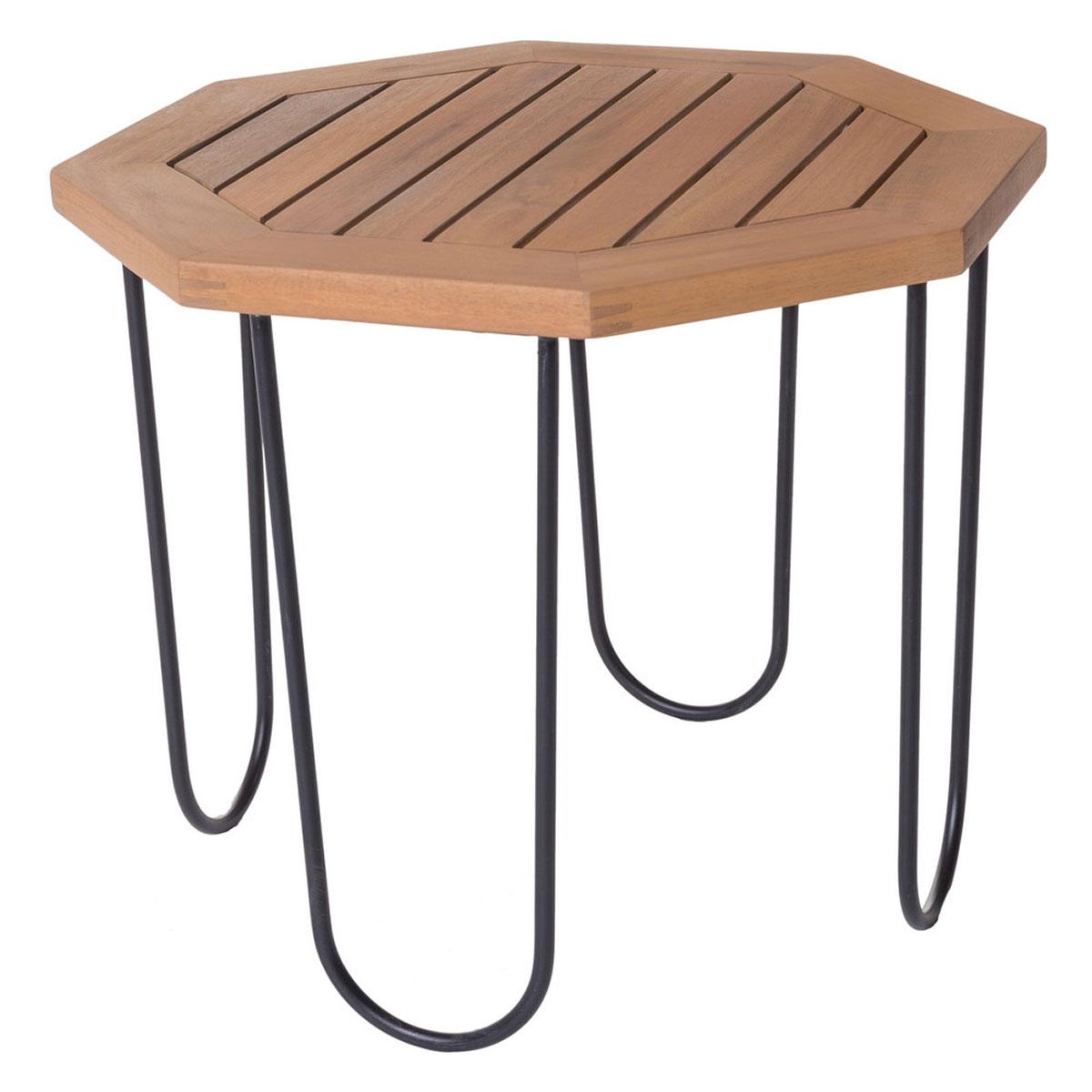 Table hexagonale d'extérieur en acacia - Marron/noir - 45.00 cm x 45.00 cm x 36.00 cm
