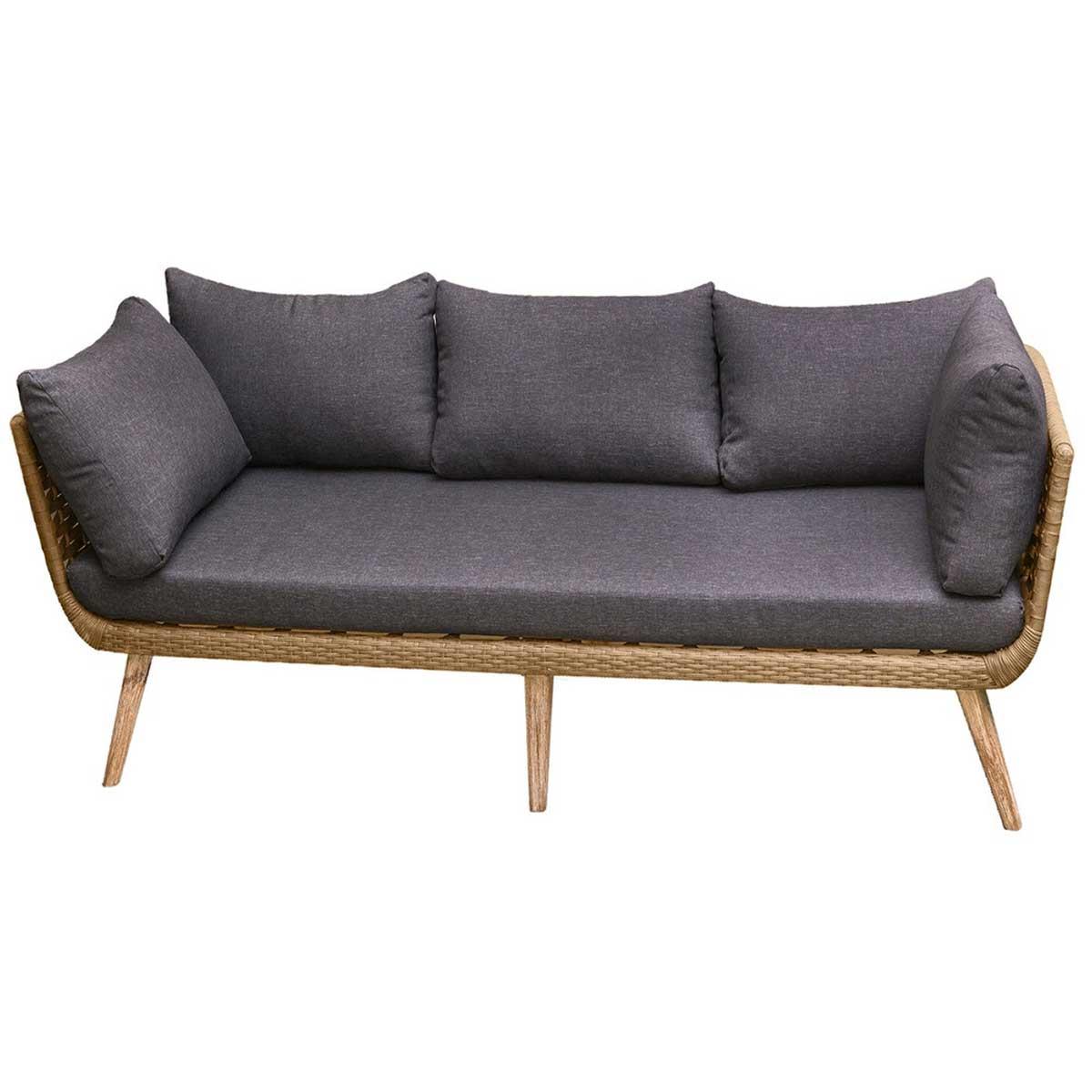 Canapé naturel en corde et bois - Beige - 192.00 cm x 72.00 cm x 68.00 cm