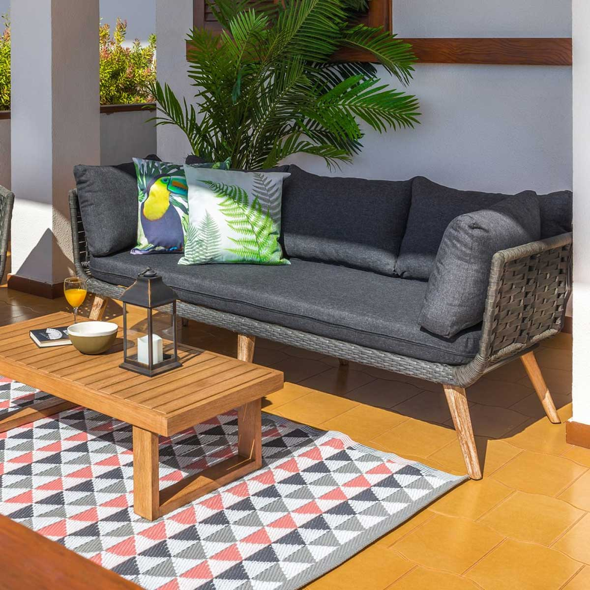 Canapé naturel en corde et bois - Gris - 192.00 cm x 72.00 cm x 68.00 cm