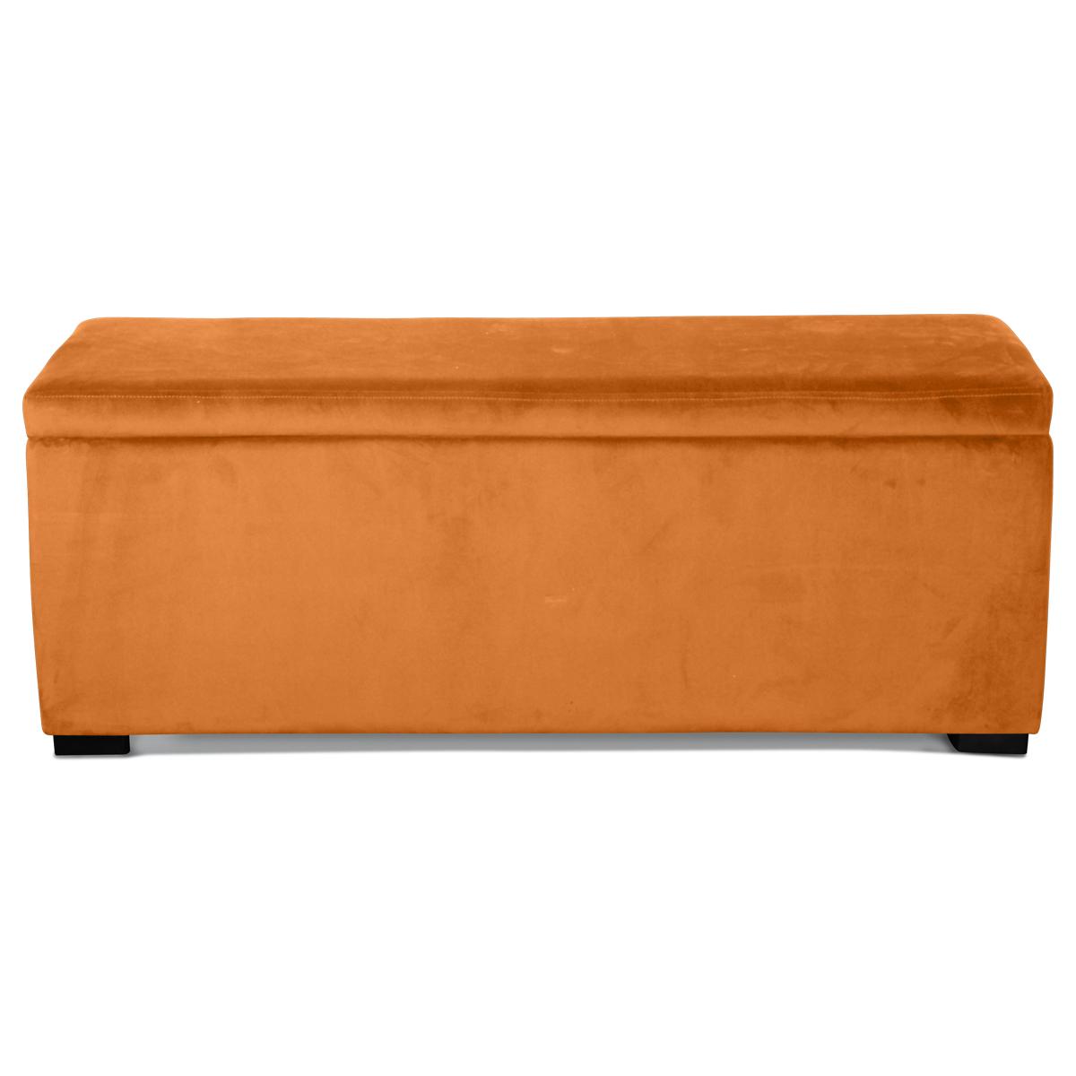 Banquette coffre en velours uni - Indie - 120 x 40 x H 45 cm