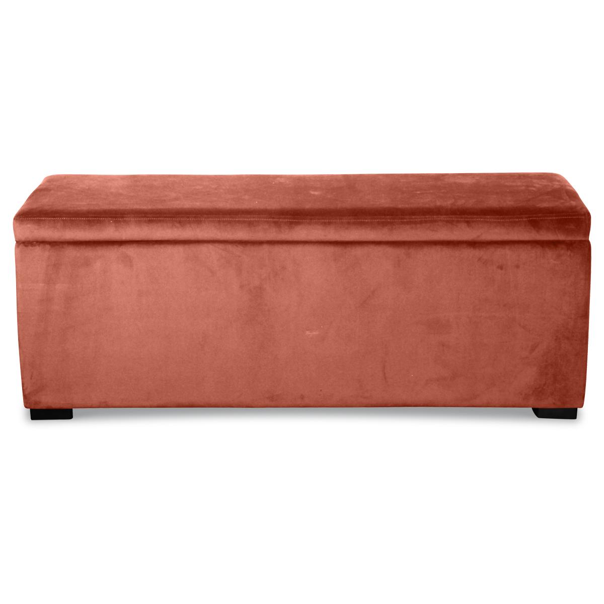 Banquette coffre en velours uni - Poudre - 120 x 40 x H 45 cm