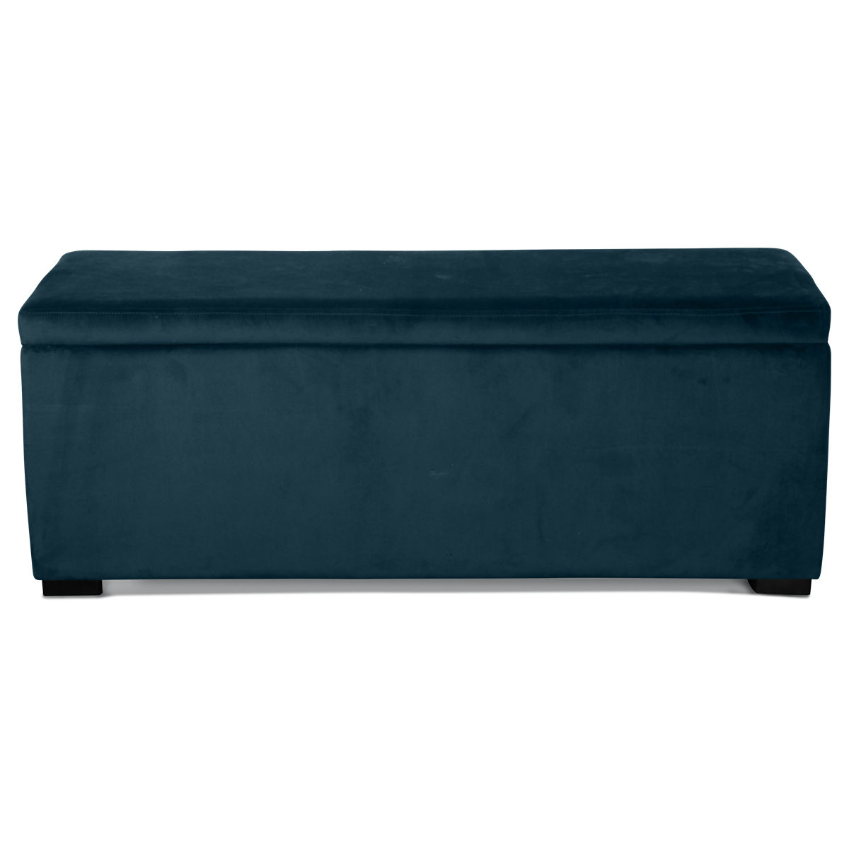 Banquette coffre en velours uni - Bleu Saxo - 120 x 40 x H 45 cm