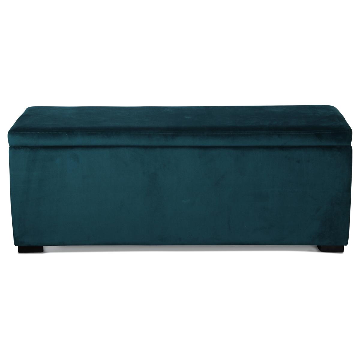 Banquette coffre en velours uni - Menthe - 120 x 40 x H 45 cm