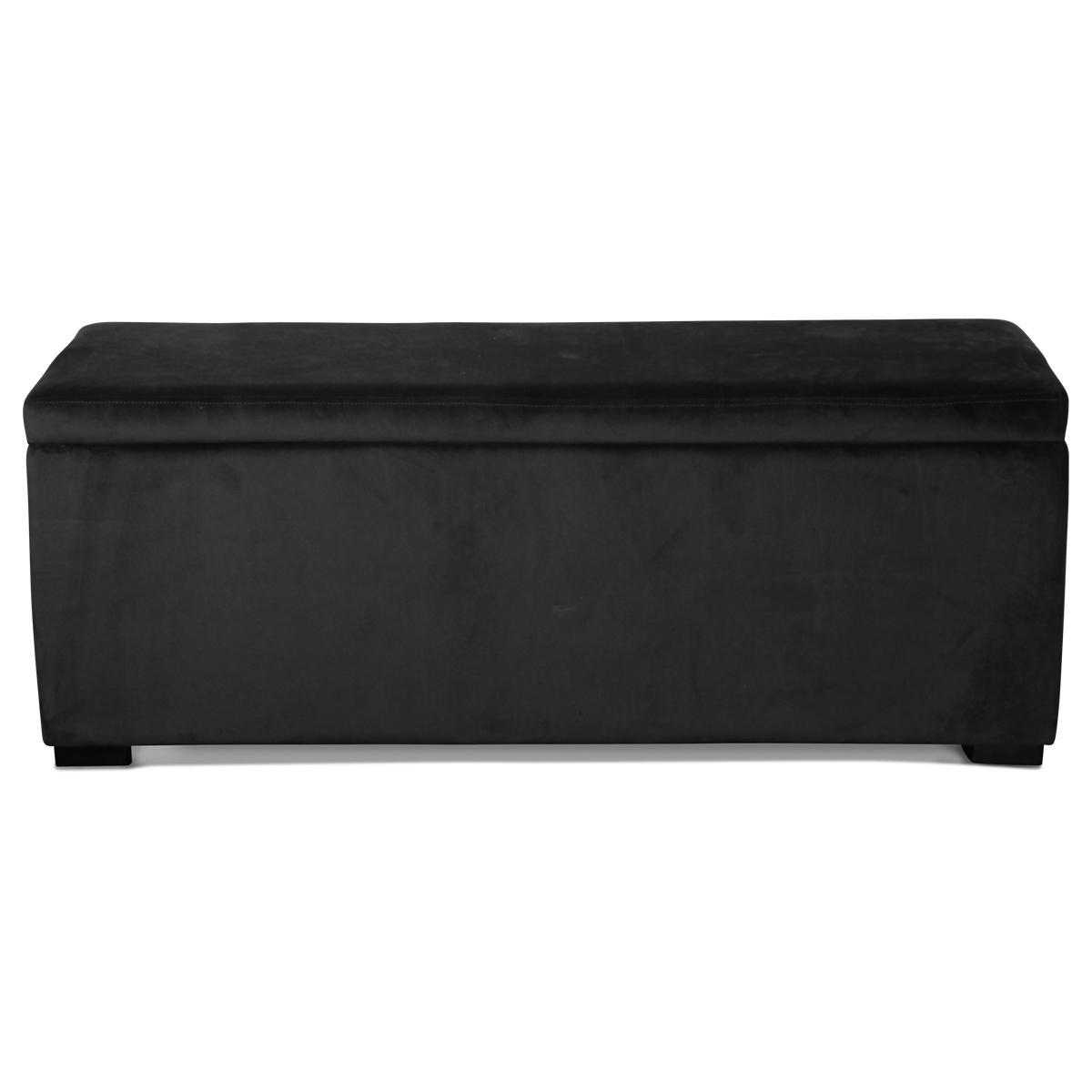 Banquette coffre en velours uni - Noir - 120 x 40 x H 45 cm
