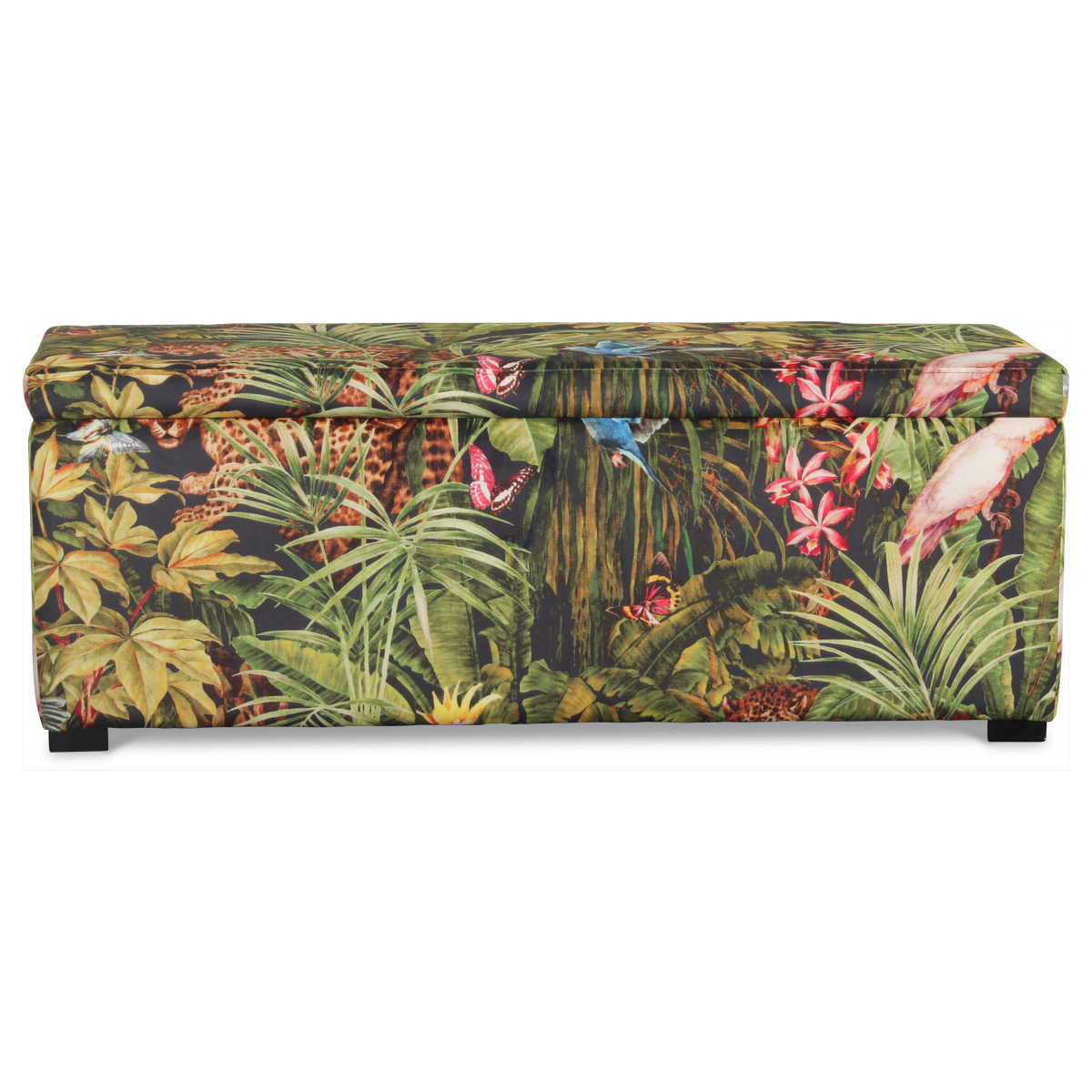 Banquette coffre en velours imprimé jungle - Multicolore - 120 x 40 x H 45 cm