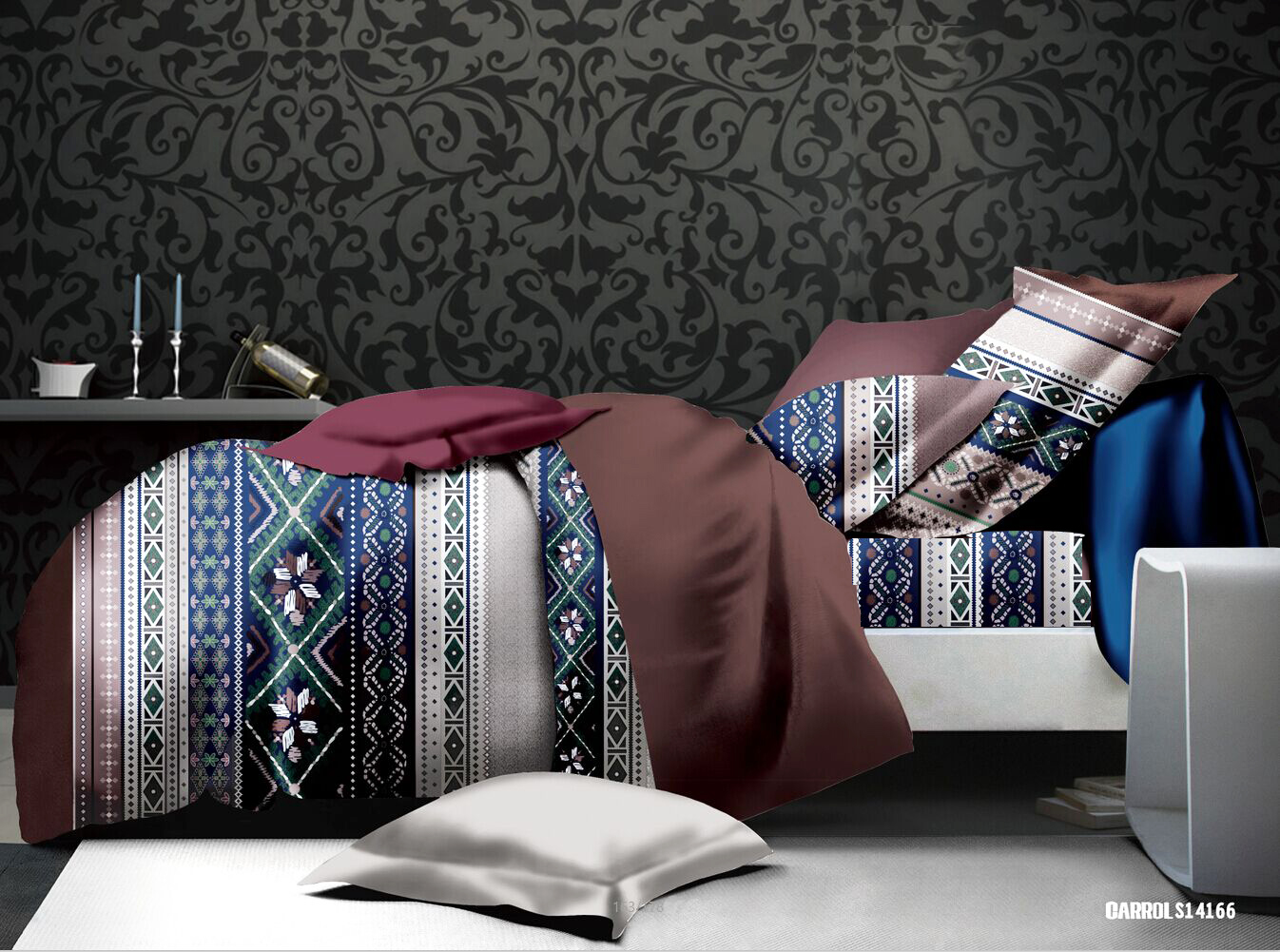 parure de draps imprim s motifs ethniques multicolore. Black Bedroom Furniture Sets. Home Design Ideas