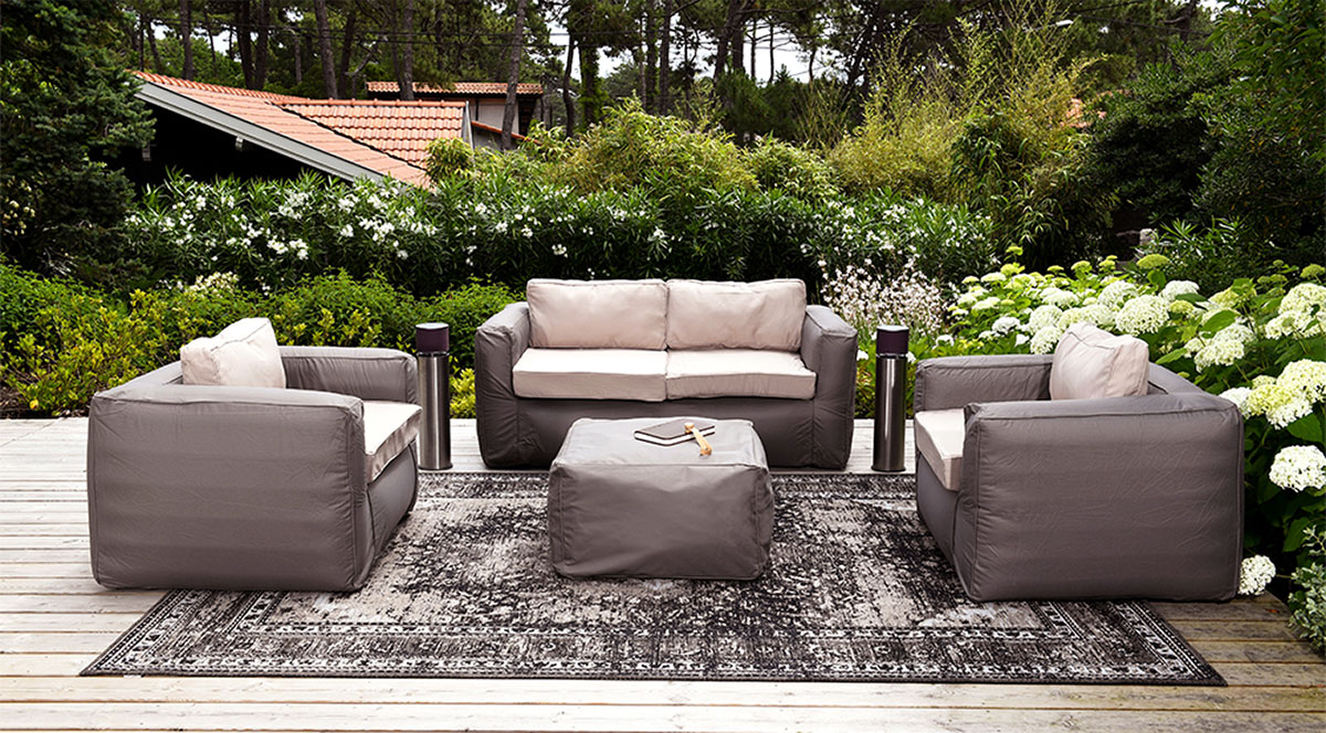 salon de jardin gonflable et nomade taupe homemaison vente en ligne salons de jardin. Black Bedroom Furniture Sets. Home Design Ideas