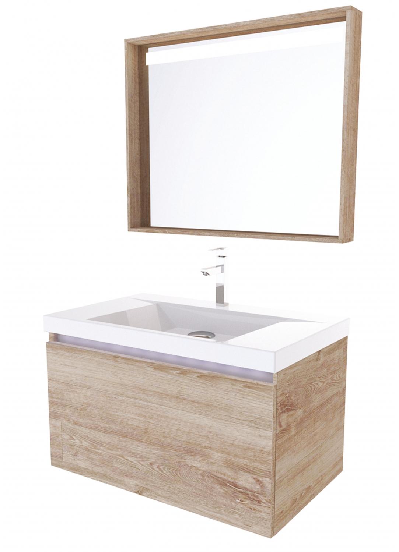 Meuble de salle de bain levito 80 ch ne ch ne ch ne - Meuble salle de bain chene gris ...