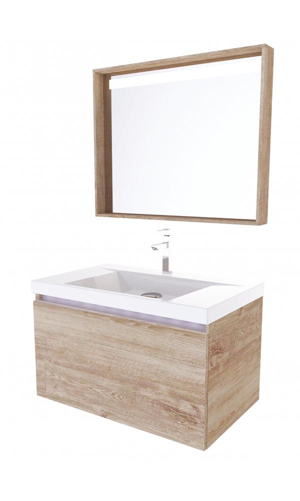 Meuble de salle de bain levito 80 ch ne ch ne gris blanc - Meuble salle de bain chene gris ...