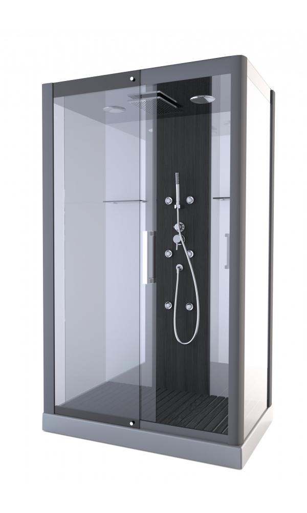 Cabine de douche pure rectangle gris anthracite for Salle de bain cabine de douche