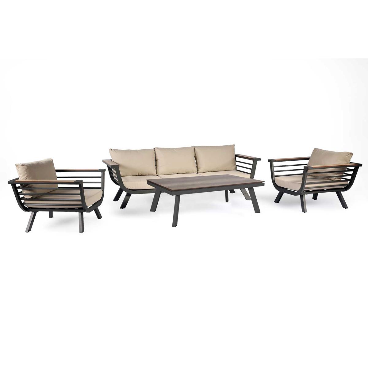 Salon de détente esprit tropical - Anthracite - 205 x 75 x h 62.5 cm