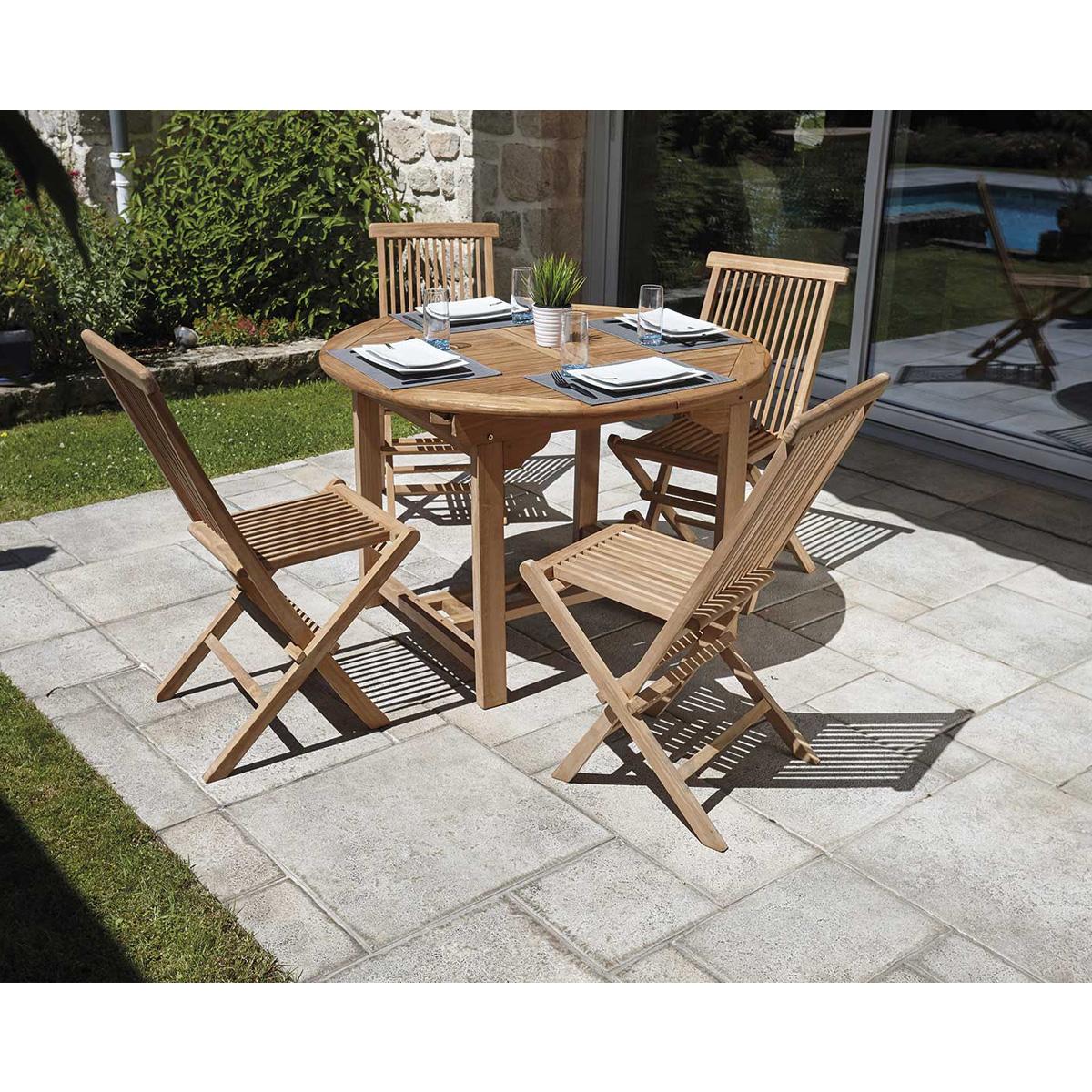 Ensemble en teck octogonal - Bois - Ø 120 cm + 4 chaises