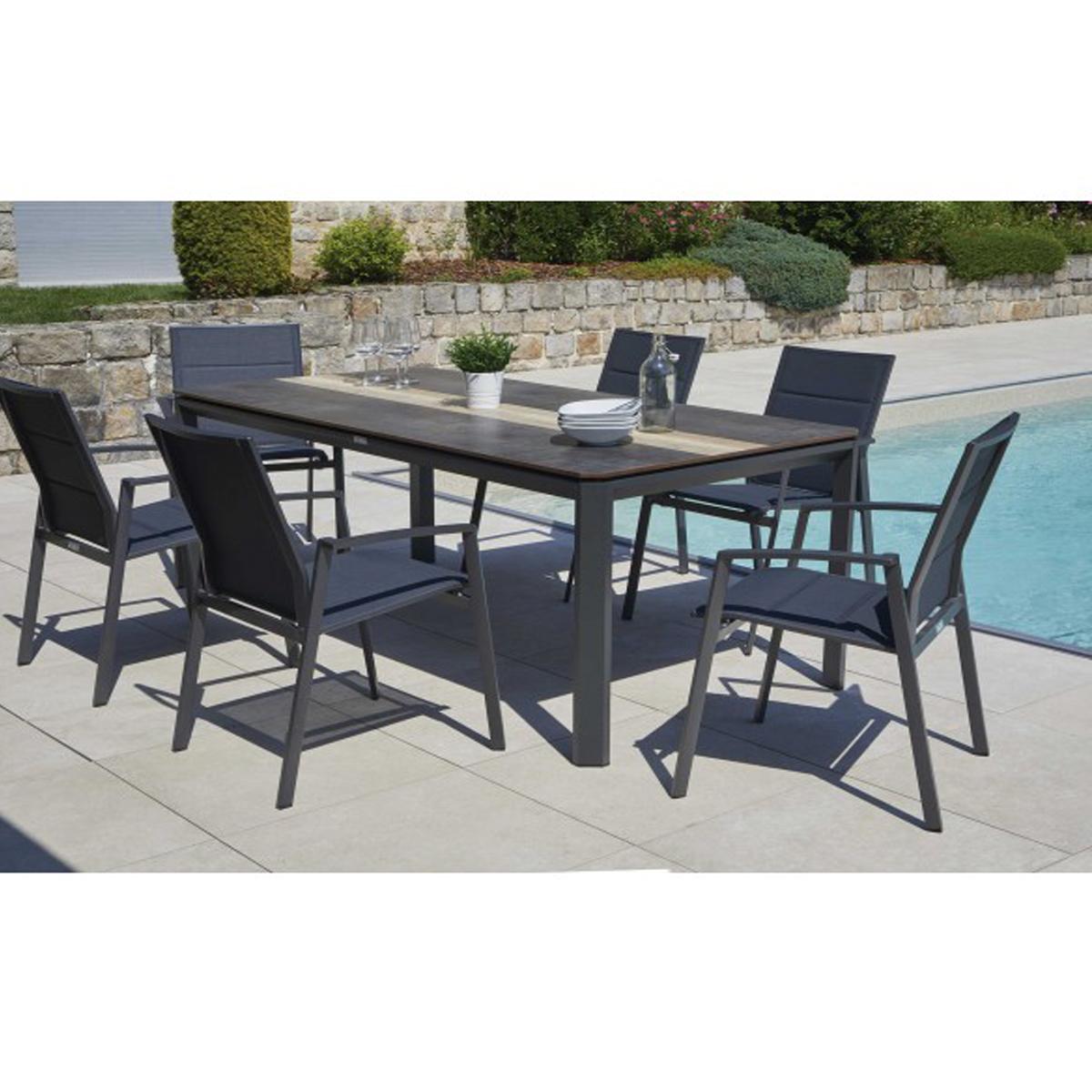 Ensemble repas avec fauteuils - Anthracite - 200 x 92 x 76 cm