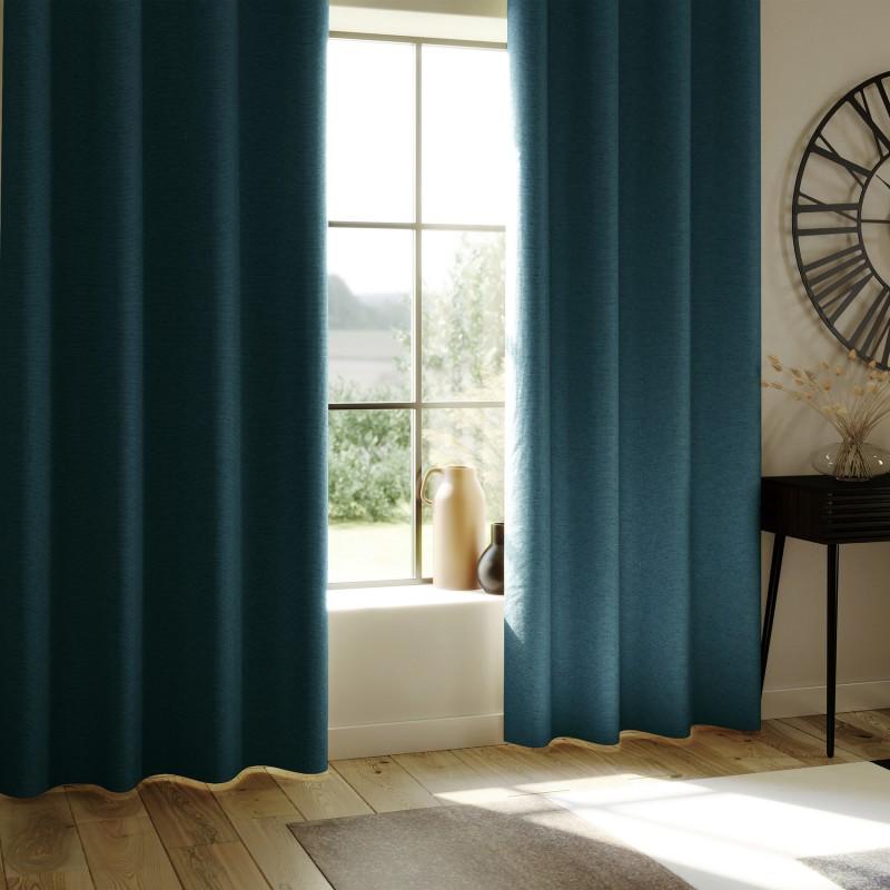 Rideau occultant total avec couche d'enduit (Bleu Canard)