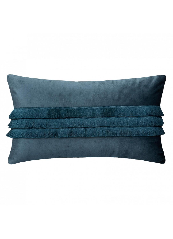 Coussin à franges en velours (Bleu Marine)