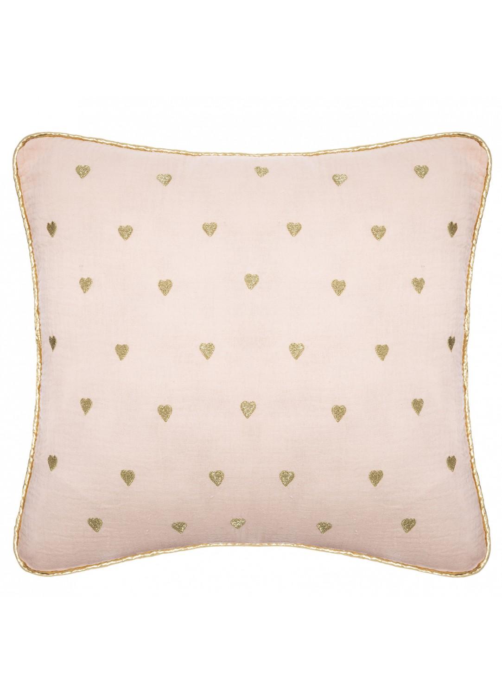 Coussin en gaze de coton motifs cœurs (Rose)