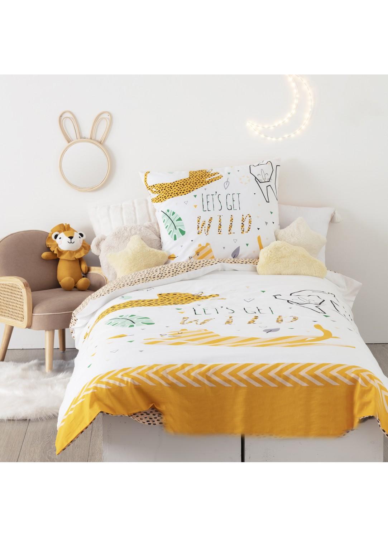Parure de lit réversible imprimé jungle (Blanc)