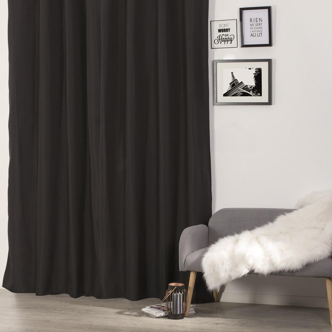 rideau isolant uni oeillets noir ivoire rouge taupe gris homemaison vente en. Black Bedroom Furniture Sets. Home Design Ideas