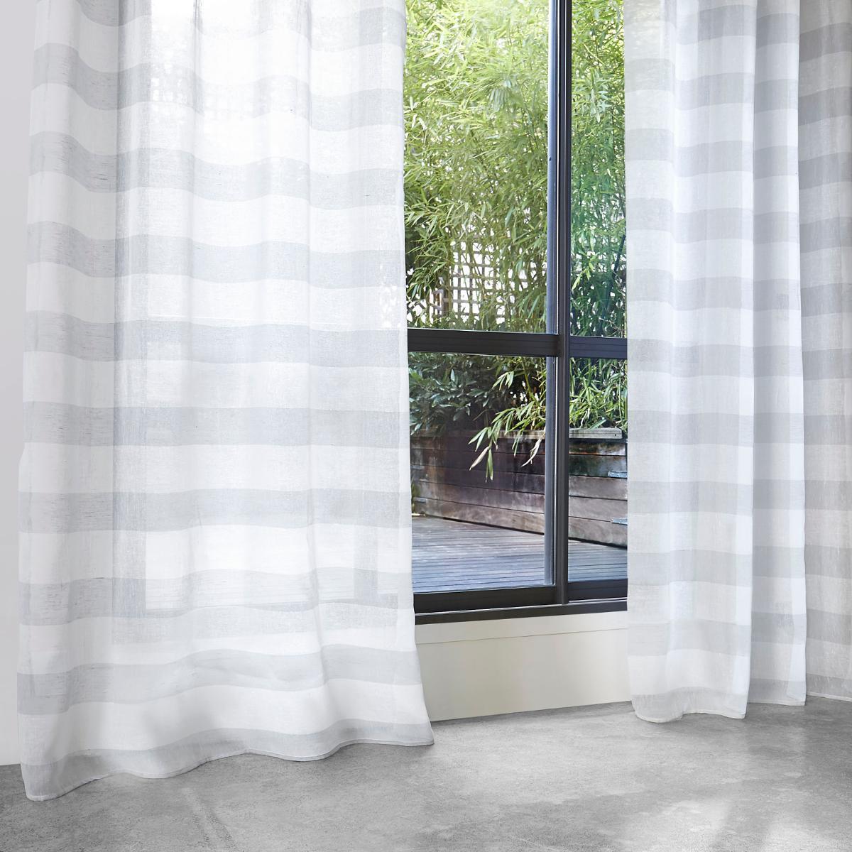 voilage rayures horizontales gris gris fonc lin. Black Bedroom Furniture Sets. Home Design Ideas
