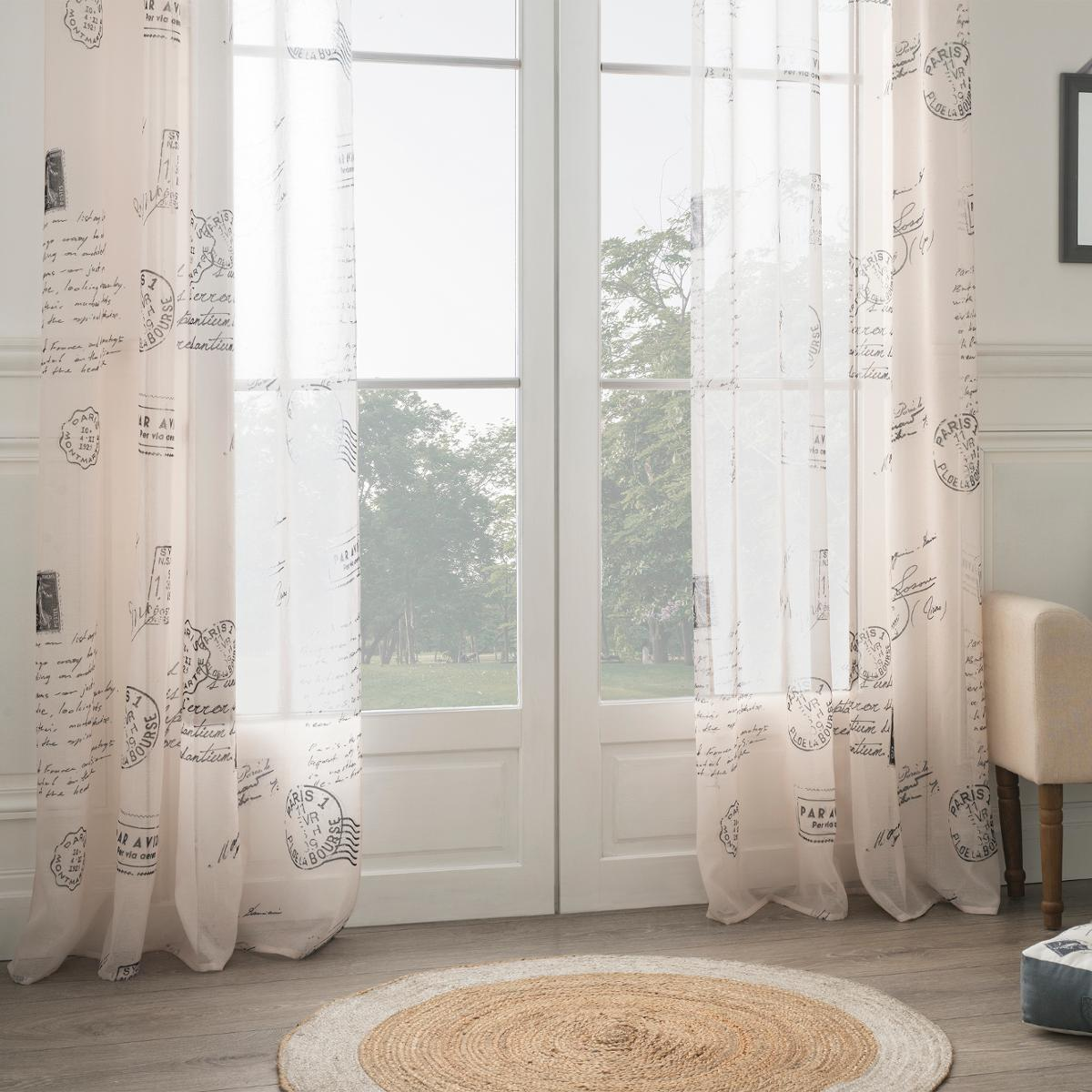 voilage imprim courrier naturel homemaison vente. Black Bedroom Furniture Sets. Home Design Ideas