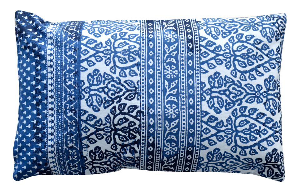 Coussin en coton aux imprim s indiens bleu bordeaux - Taille coussin standard ...
