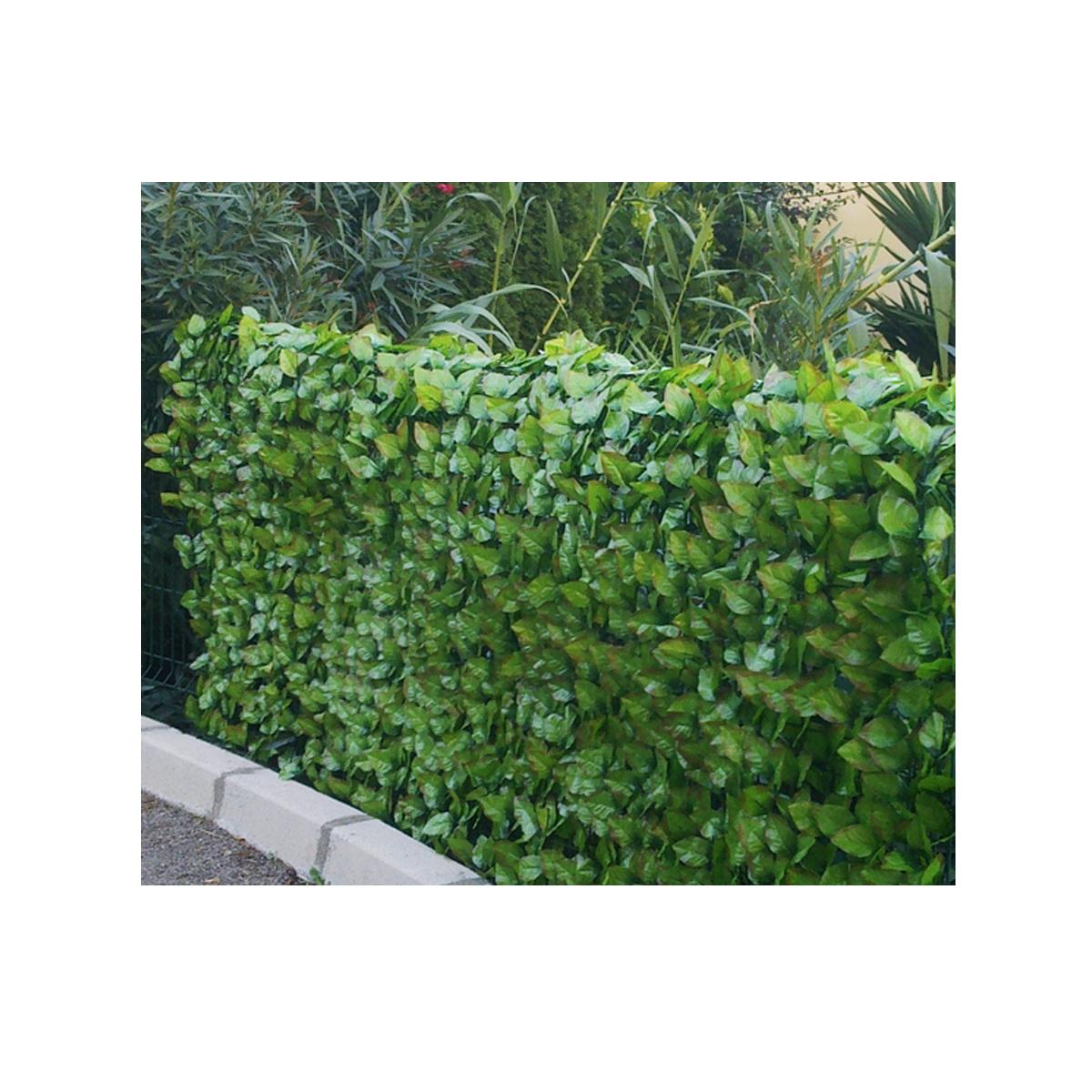 Haie végétale artificielle aspect feuilles de rosier JET7GARDEN - Vert - 1 m x 3 m