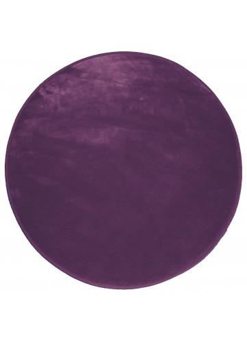 Tapis Rond en Velours Uni - Prune - 90 cm