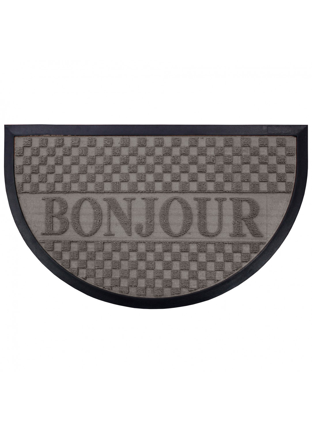 tapis d entr e demi lune reliefs bonjour gris noir naturel homemaison vente en. Black Bedroom Furniture Sets. Home Design Ideas
