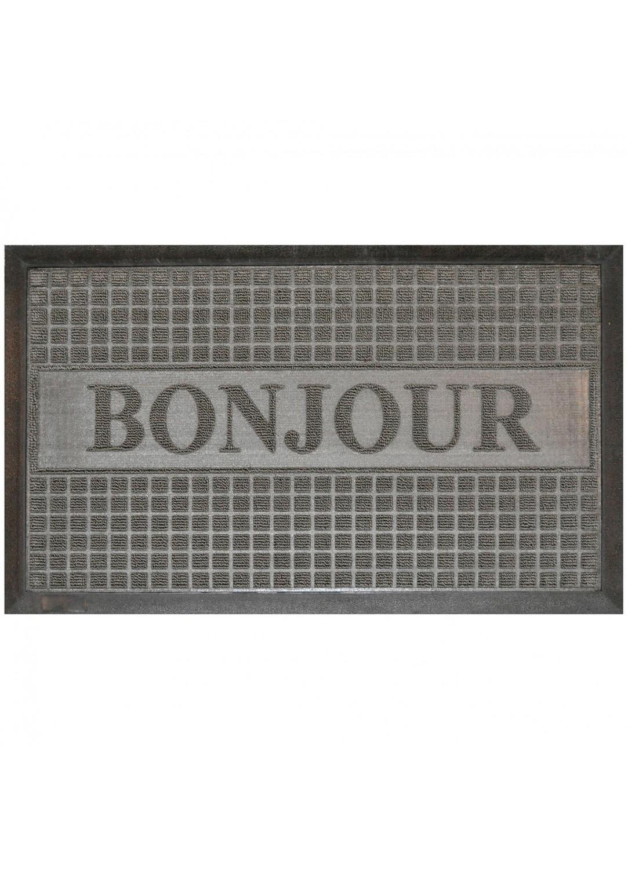Tapis D Entree Rectangulaire Bonjour A Reliefs Gris Noir