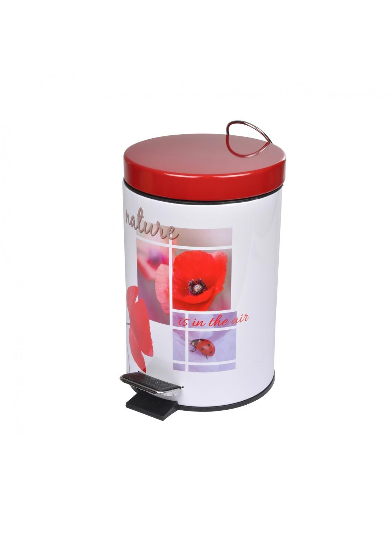 poubelle de salle de bain design en m tal rouge blanc. Black Bedroom Furniture Sets. Home Design Ideas