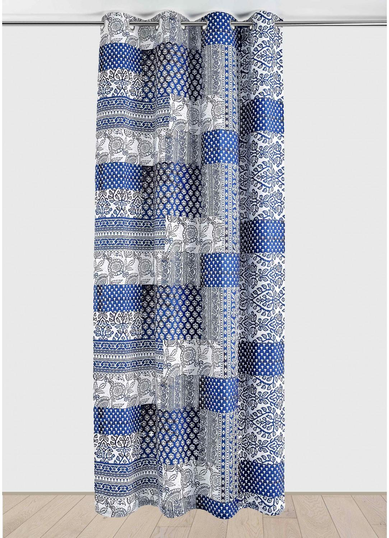 Rideau en Coton aux Imprimés Indiens (Bleu)