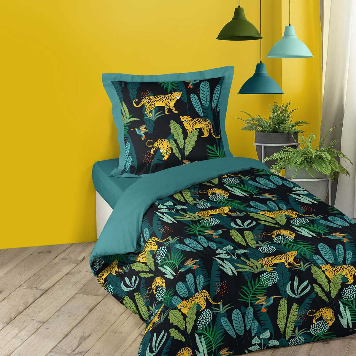 Parure de couette imprimée forêt tropicale - Noir - 140 x 200 cm