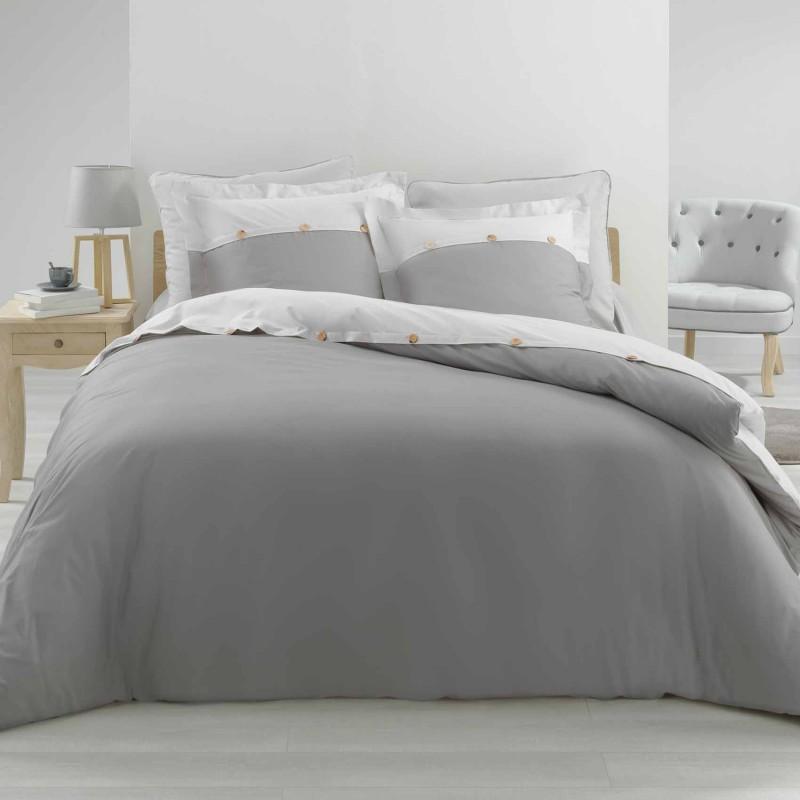 Parure de lit finition boutons bois (Gris/Blanc)