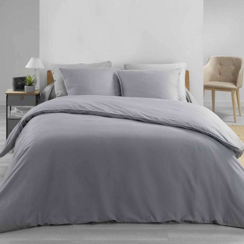 Parure de lit finition dentelle (Gris/Blanc)