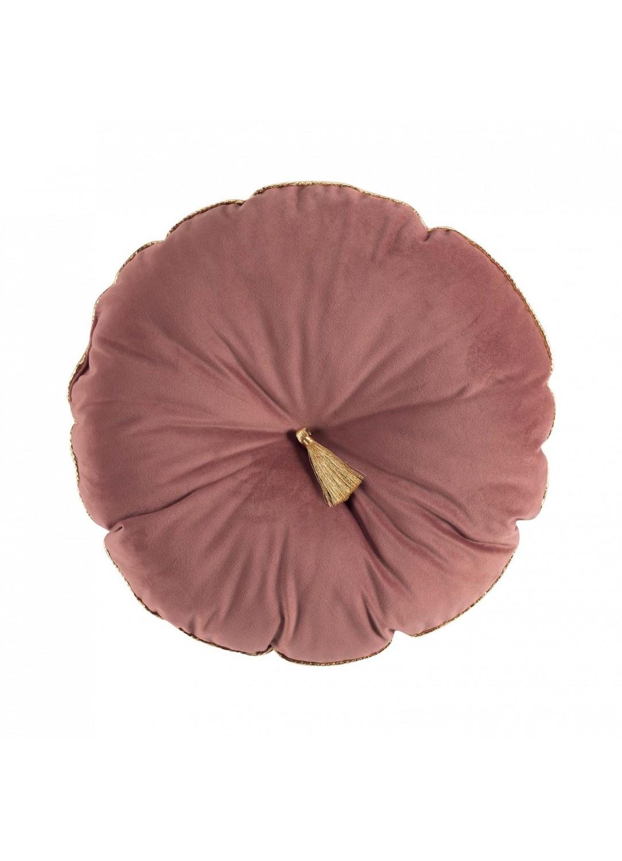 Coussin rond en velours et pompon (Rose)