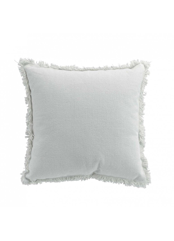 Coussin déhoussable à franges (Blanc)