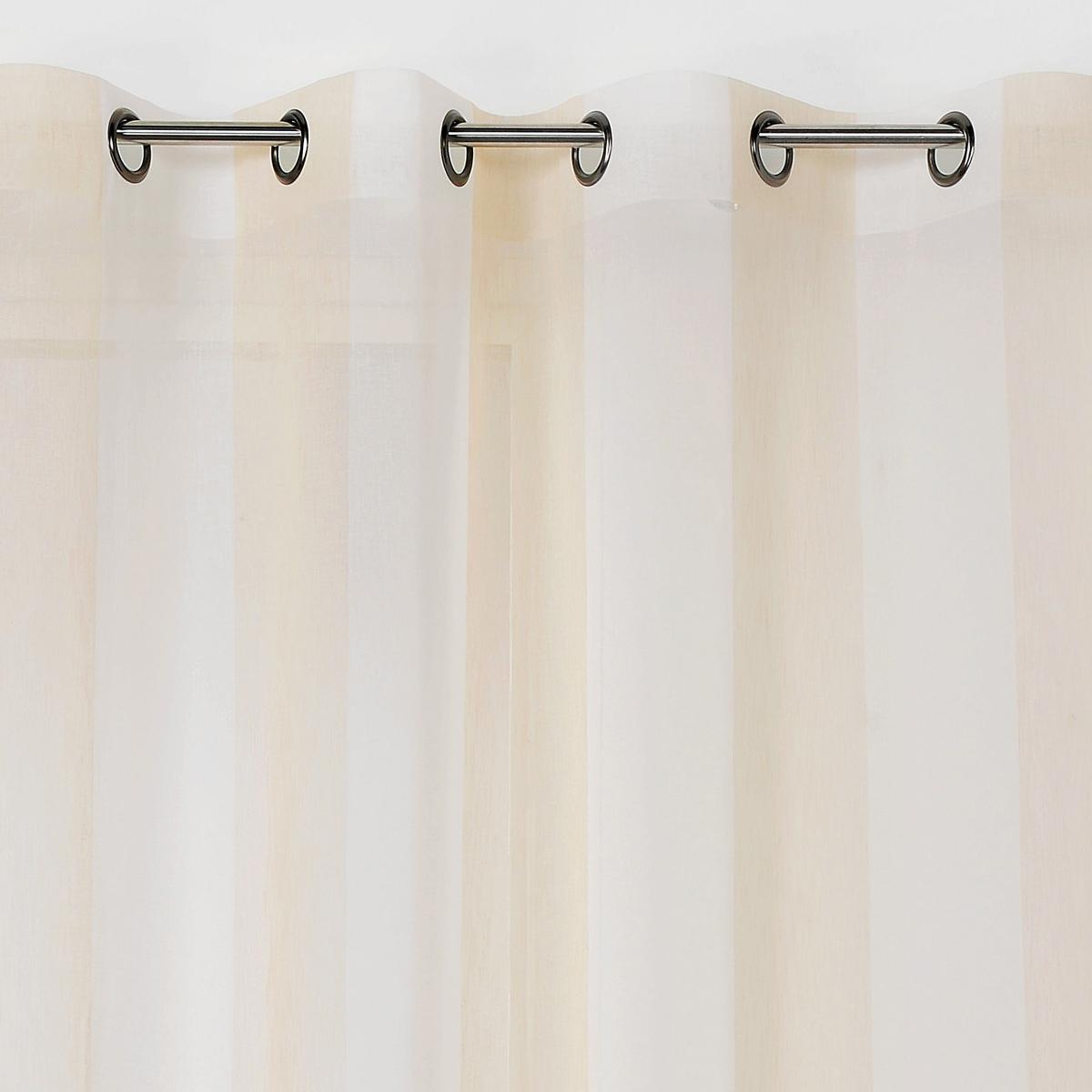 Voilage à rayures verticales colorées (Beige)