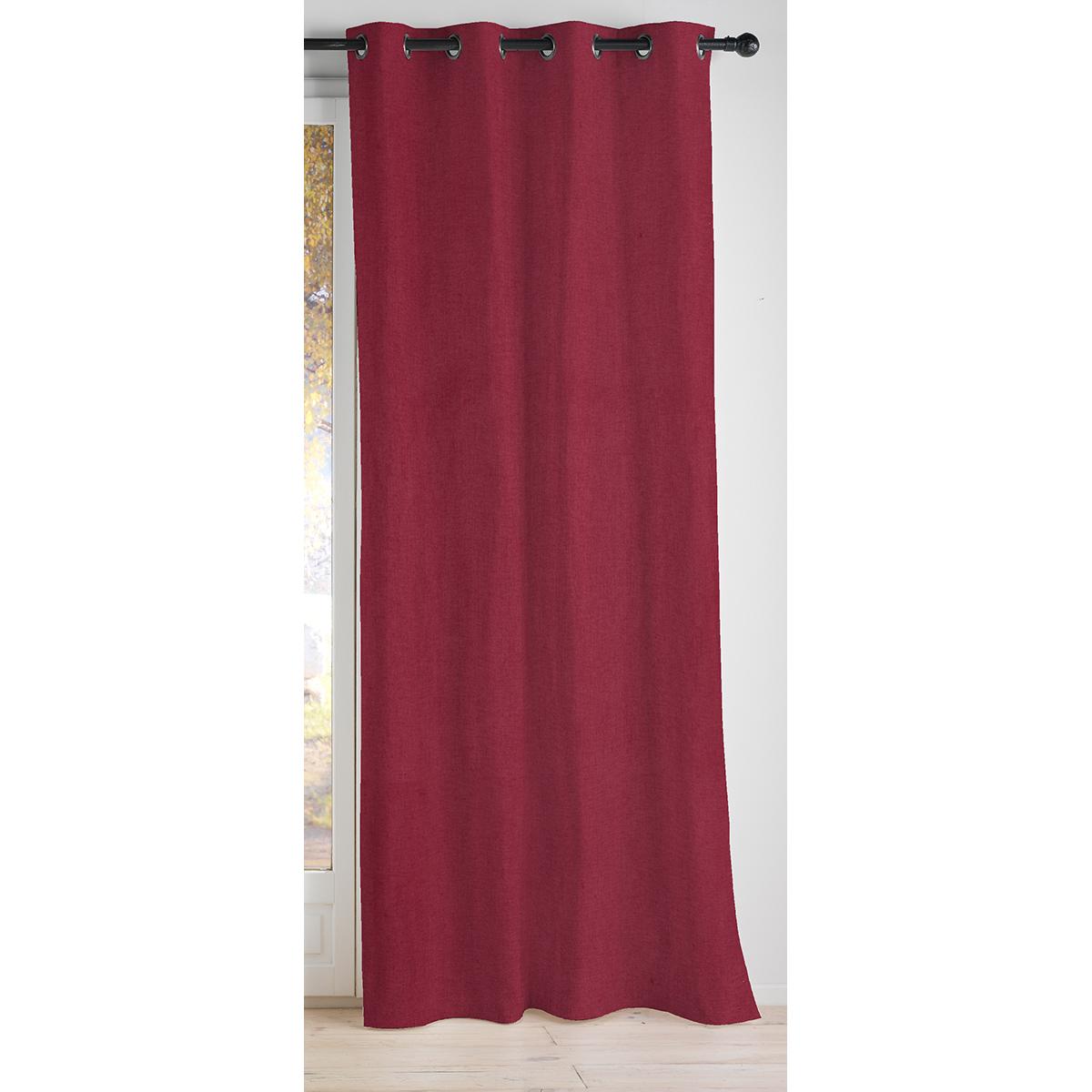Rideau 100 % occultant uni et coloré - Rouge - 140 x 260 cm
