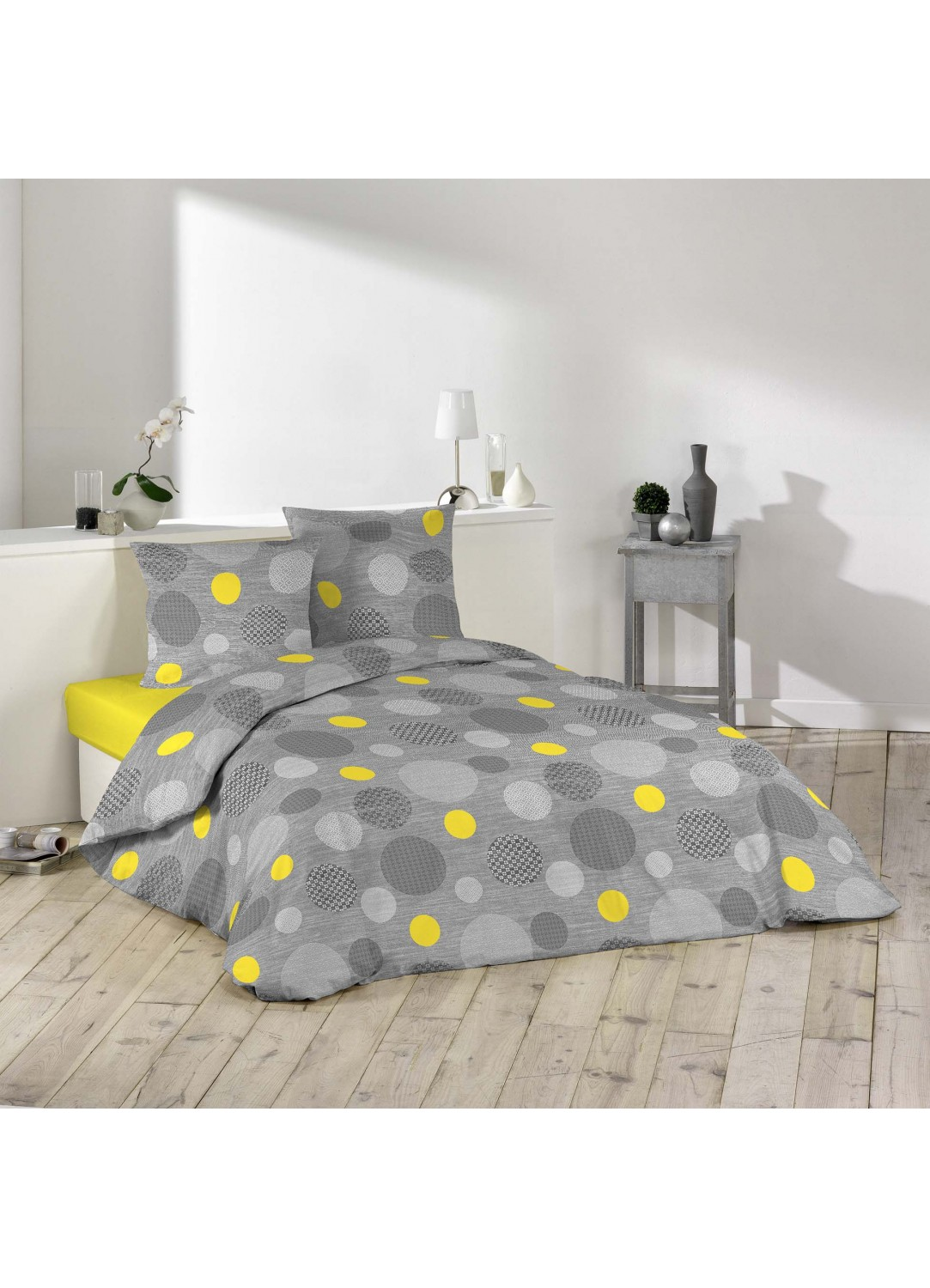 parure de lit imprim e pois jaune homemaison vente en ligne parures de lit. Black Bedroom Furniture Sets. Home Design Ideas
