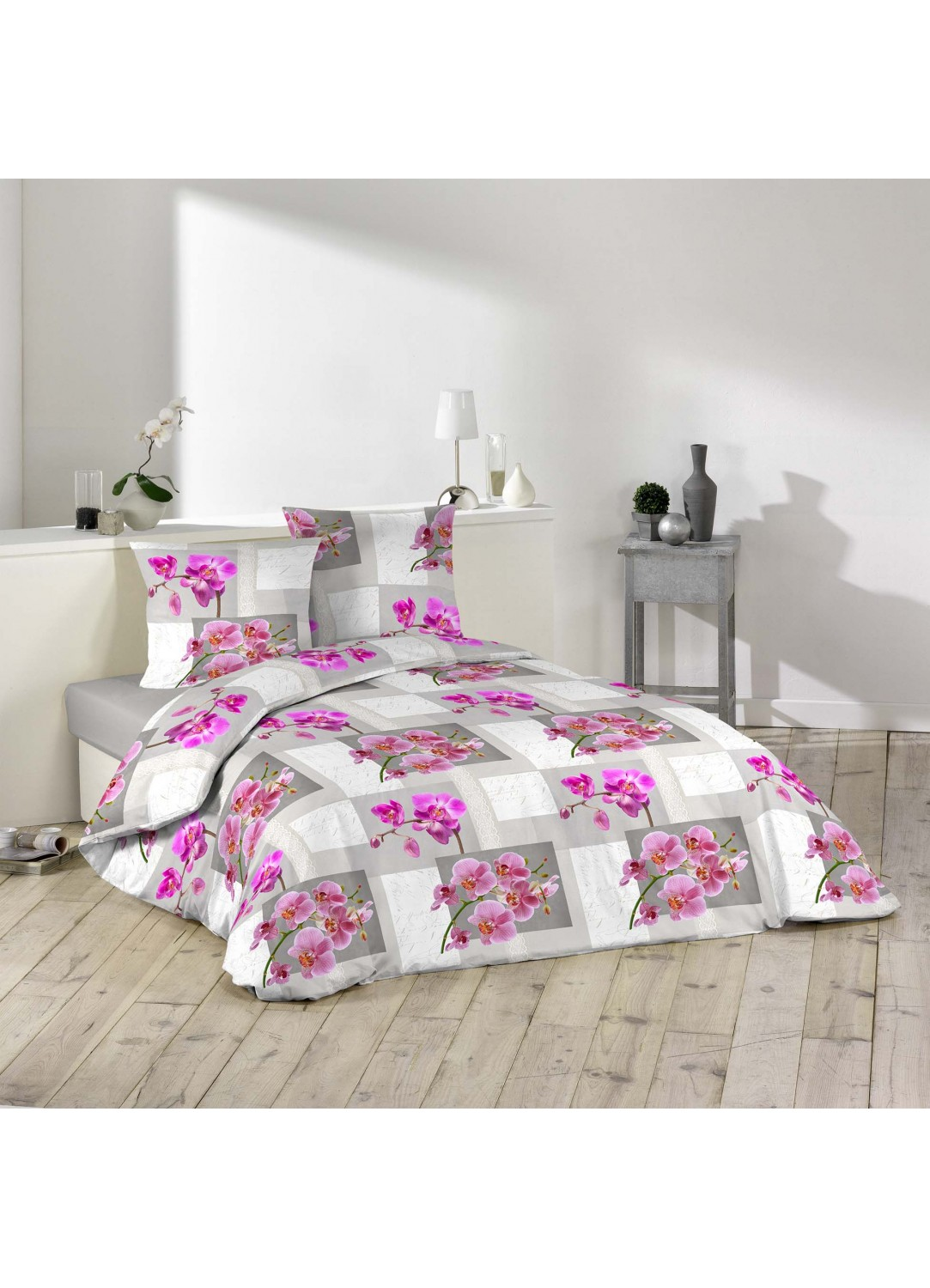 parure de lit imprim e orchid es multicolors homemaison vente en ligne parures de lit. Black Bedroom Furniture Sets. Home Design Ideas
