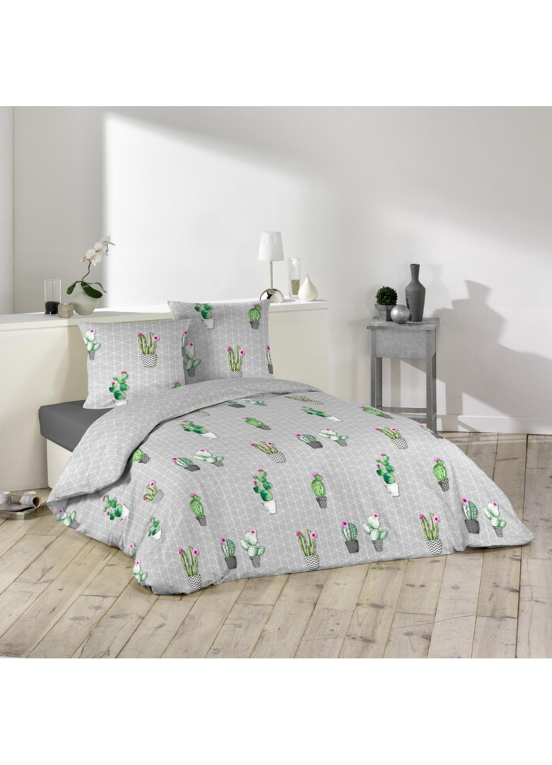 parure de lit imprim e cactus multicolors homemaison vente en ligne parures de lit. Black Bedroom Furniture Sets. Home Design Ideas
