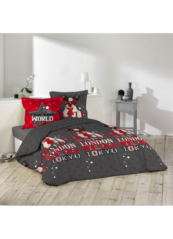 parure de lit imprim e chien et etoiles multicolors homemaison vente en ligne parures de lit. Black Bedroom Furniture Sets. Home Design Ideas