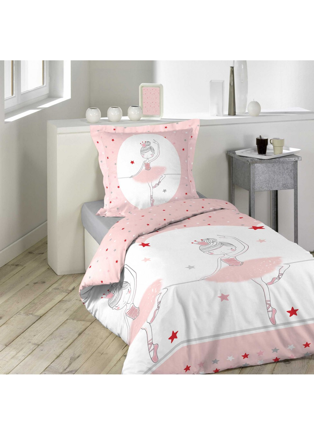 parure de lit enfant danseuse etoile multicolors. Black Bedroom Furniture Sets. Home Design Ideas