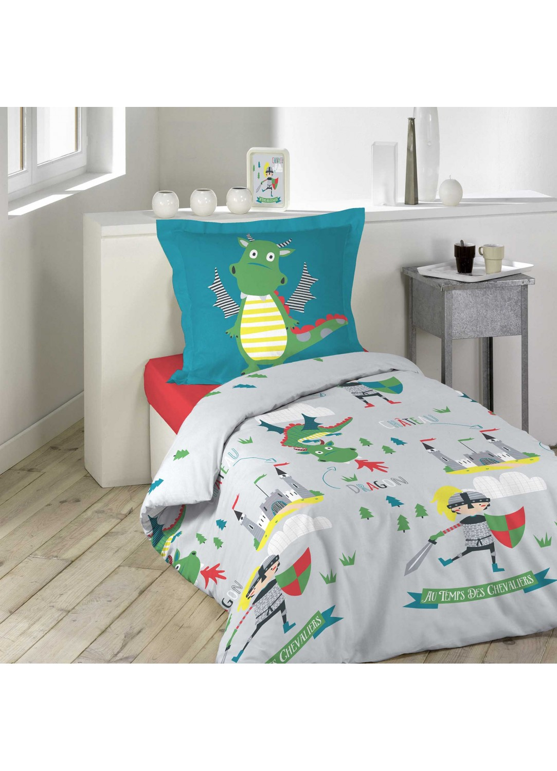 parure de lit enfant au temps des chevaliers multicolors homemaison vente en ligne. Black Bedroom Furniture Sets. Home Design Ideas
